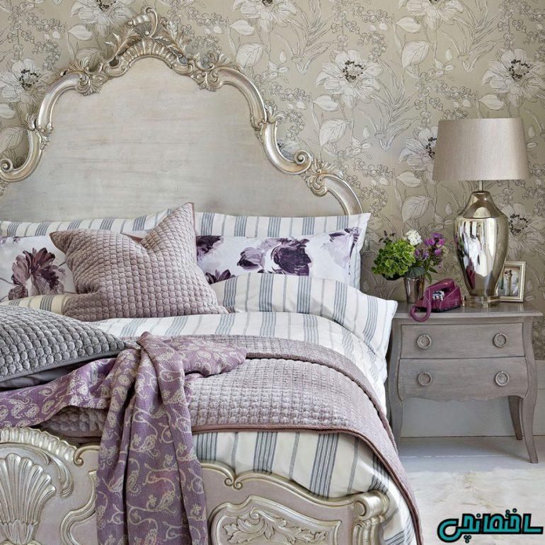 استفاده از تخت خواب خاکستری رنگ