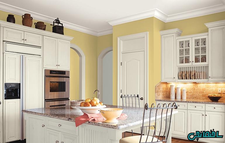 %عکس - دیزاین آشپزخانه لاکچری با رنگ زرد