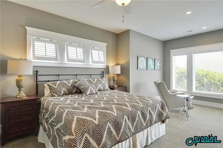 اتاق خواب روشن نورگیر