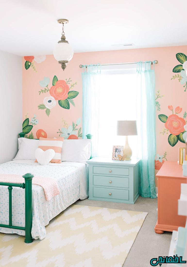 استفاده از رنگ مرجانی در اتاق خواب