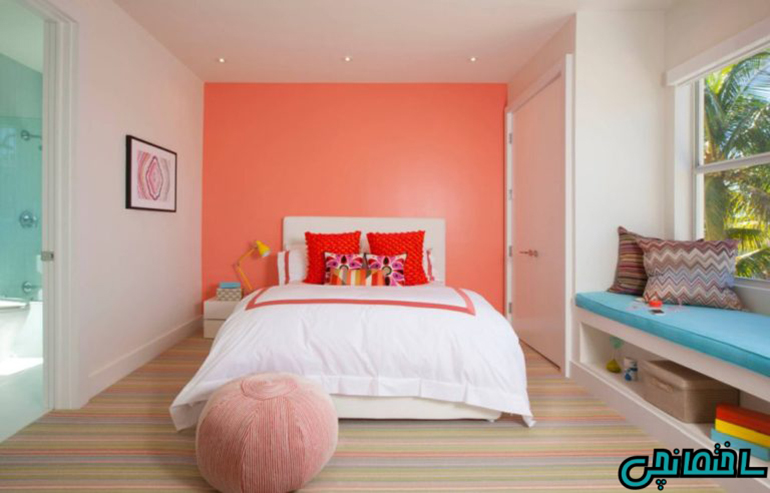 استفاده از رنگ مرجانی برای دیوار شاخص