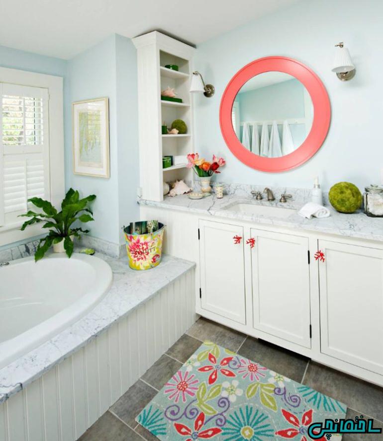 استفاده از رنگ مرجانی در حمام