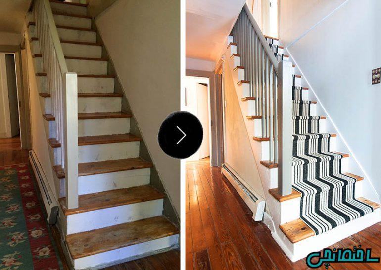 پهن کردن فرش روی پله ها