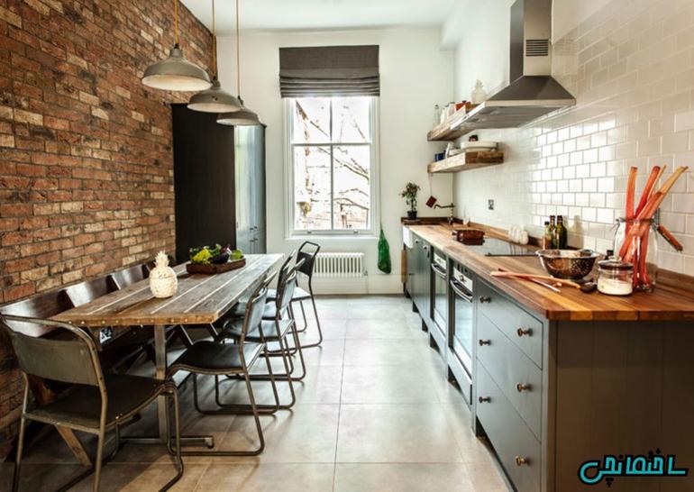 %عکس - دیزاین آشپزخانه به سبک صنعتی