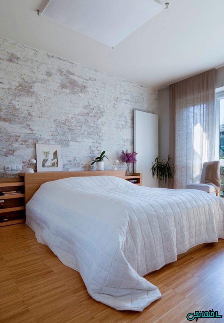 استفاده از آجر سفید در اتاق خواب