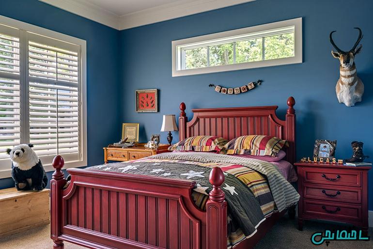 ترکیب رنگ های عنابی و آبی