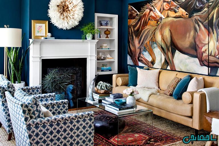 ترکیب رنگ های گندمی و آبی
