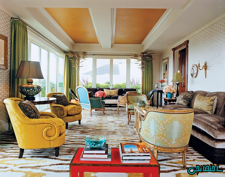 ترکیب رنگ های سبز و زرد طلایی