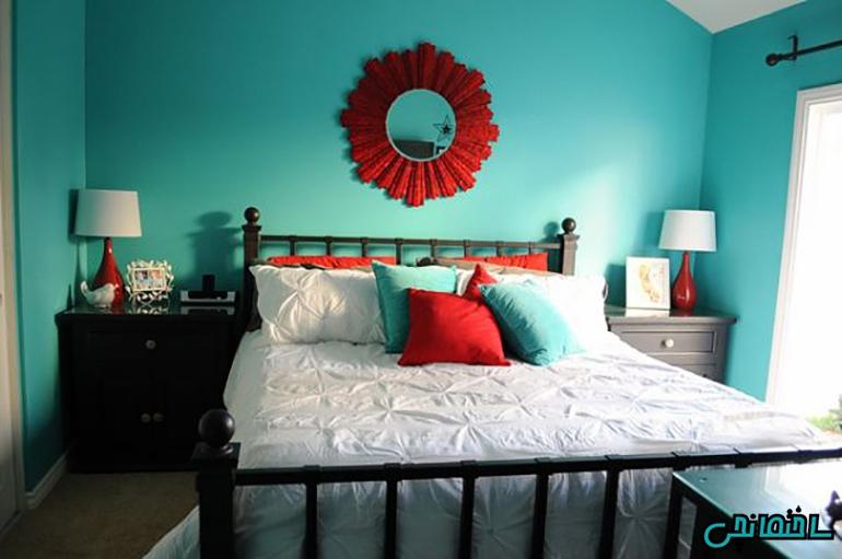 ترکیب رنگ های قرمز و آبی فیروزه ای