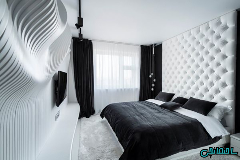 استفاده از رنگ سفید و سیاه در طراحی اتاق خواب