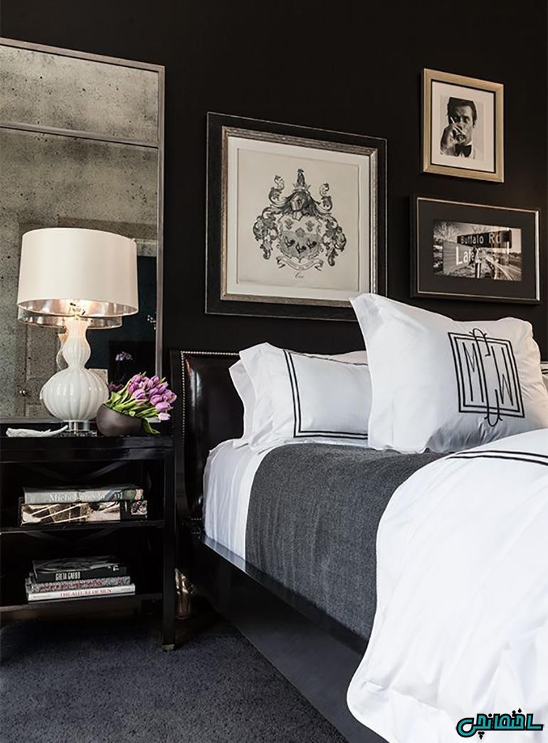 استفاده از وسایل روشنایی و براق در اتاق خواب سیاه