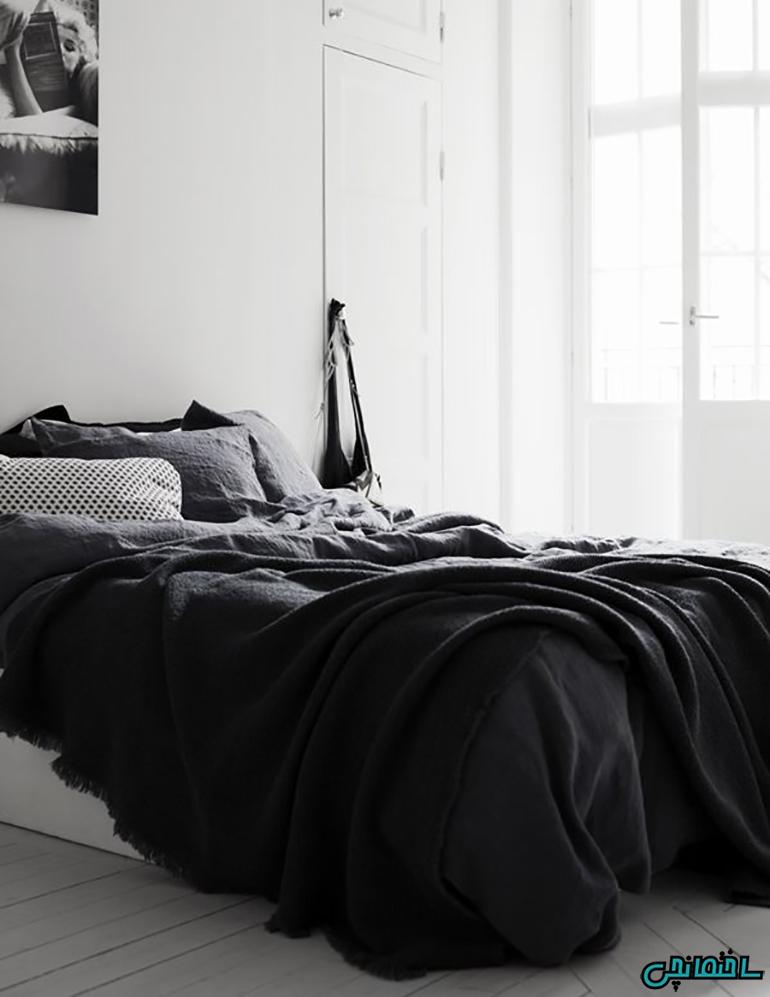 استفاده از رنگ سیاه در اتاق خواب پرنور