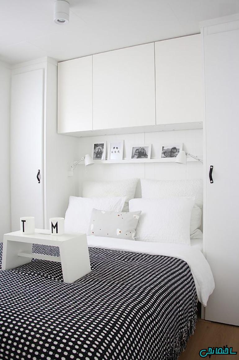 %عکس - جادوی رنگ های سفید و سیاه در طراحی اتاق خواب
