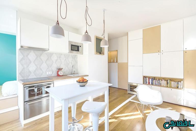 %عکس - راهکارهای هوشمندانه طراحی آشپزخانه کوچک
