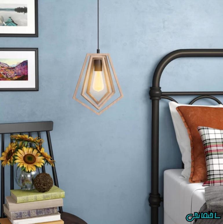 %عکس - نورپردازی اتاق خواب با چراغ های آویز