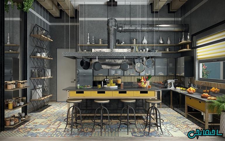طراحی آشپزخانه شلوغ