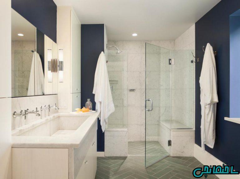 حمام مدرن آبی