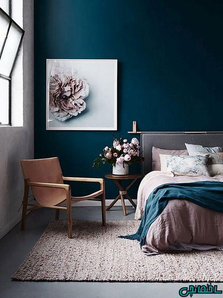 اتاق خواب مدرن آبی