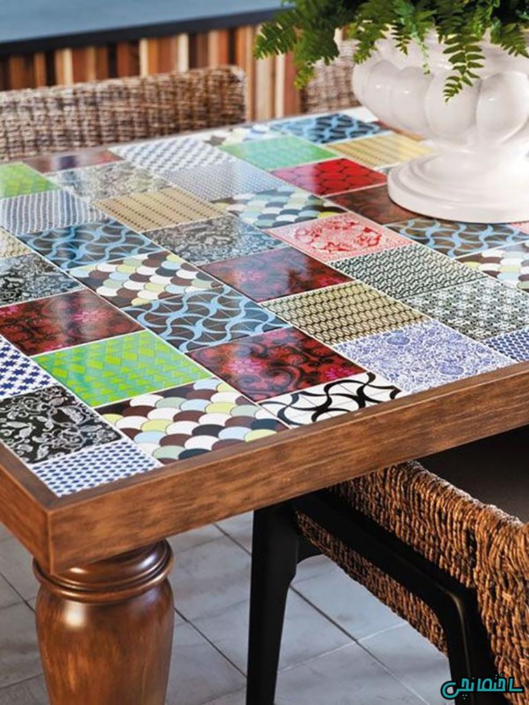 استفاده از کاشی های رنگی در طراحی میز