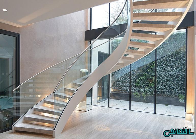 راه پله گرد با نرده شیشه ای