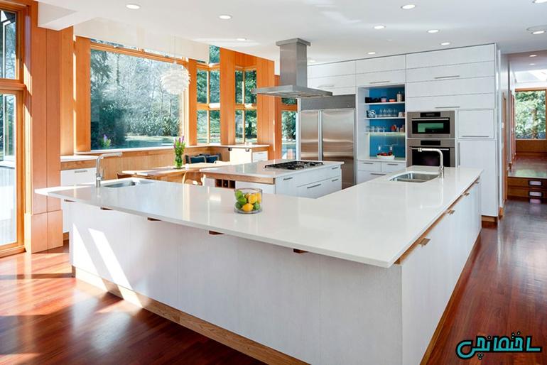 %عکس - طراحی جزیره در آشپزخانه L شکل