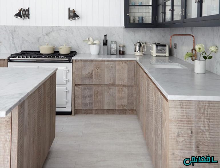 استفاده از کابینت سبک روستیک در آشپزخانه مدرن