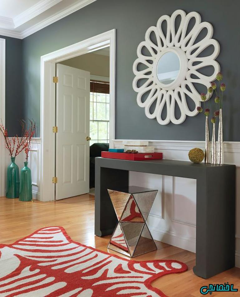 طراحی قسمت ورودی خانه با رنگ خاکستری