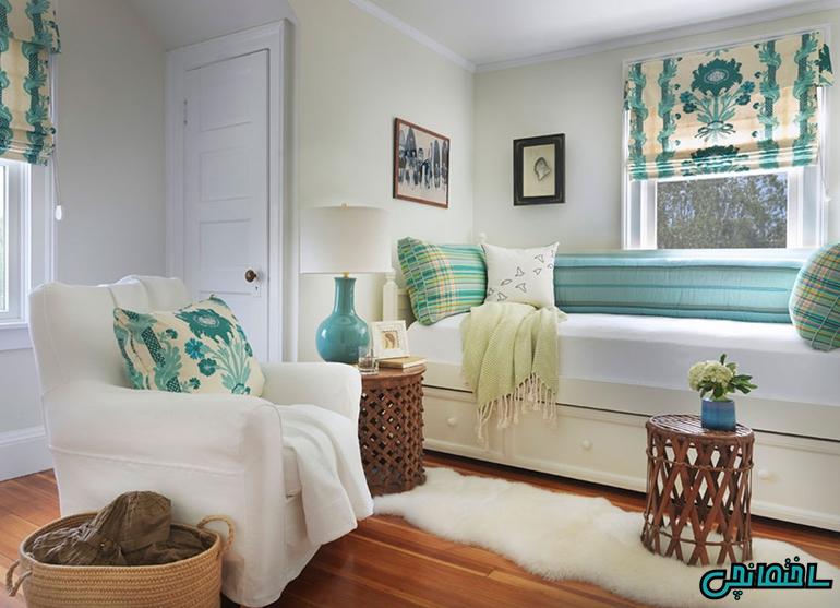 استفاده از الگوهای مختلف در کنار رنگ آبی فیروزه ای