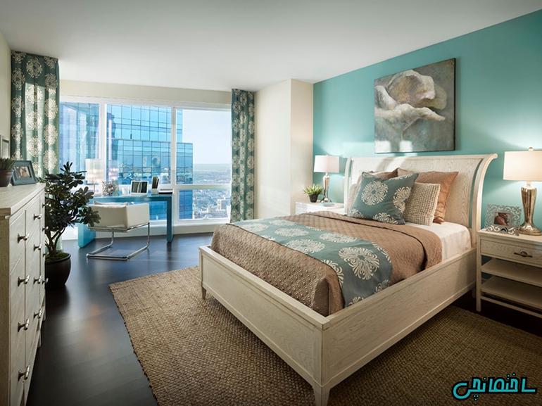 استفاده از رنگ آبی فیروزه ای در طراحی اتاق خواب