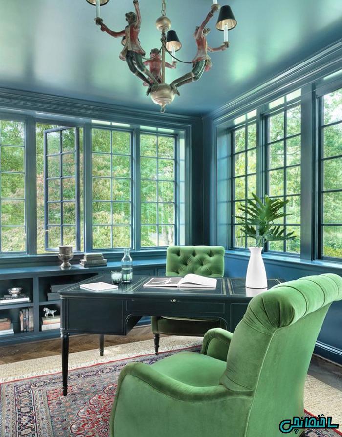 استفاده از دو رنگ سبز و آبی