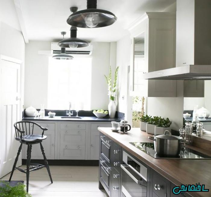 %عکس - دکوراسیون آشپزخانه مدرن با رنگ خاکستری