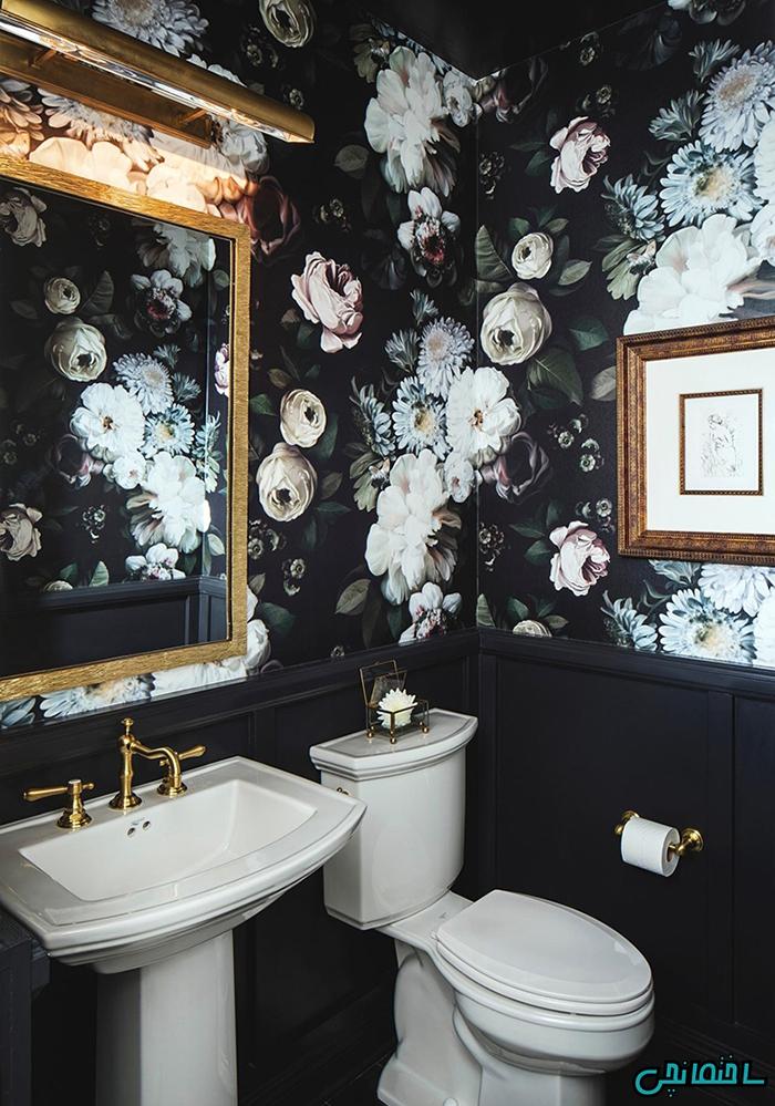 استفاده از کاغذ دیواری گل دار