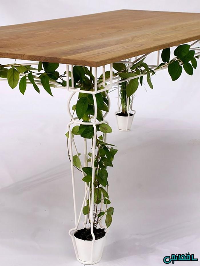 تعبیه گلدان در پایه های میز