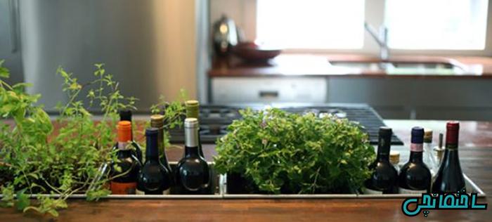 استفاده از گل و گیاه در قسمت جزیزه آشپزخانه