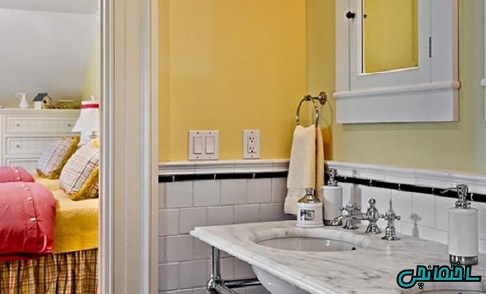 رنگ خردلی در حمام