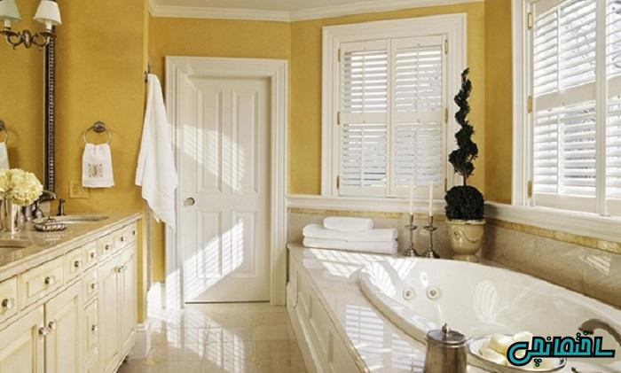 %عکس - طراحی فضای حمام با رنگ زرد