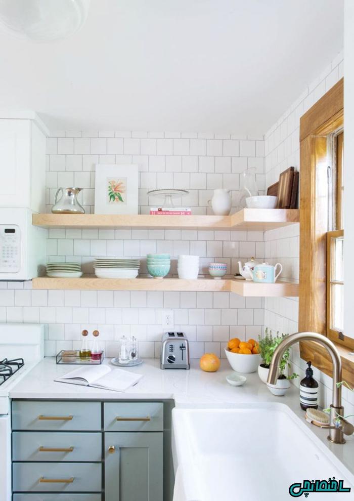 %عکس - استفاده از شلف در آشپزخانه های اپن