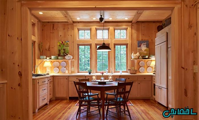 استفاده از چوب طبیعی در آشپزخانه