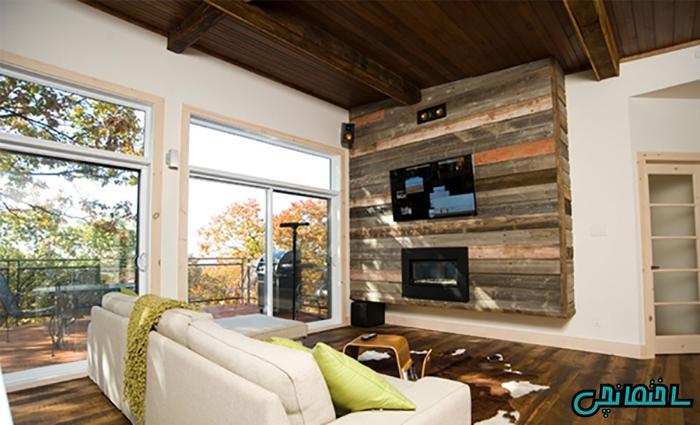 استفاده از چوب طبیعی در دیوار شاخص