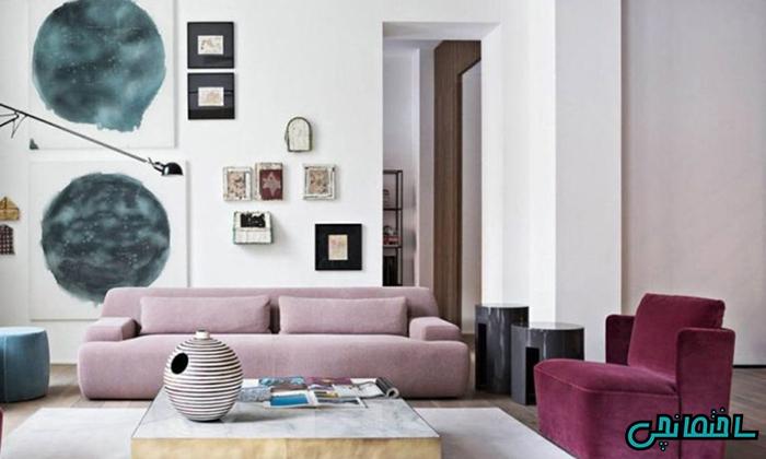 %عکس - طراحی دکوراسیون مدرن با رنگ بنفش