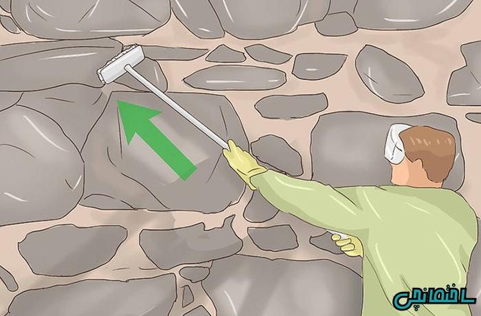 %عکس - آموزش رنگ آمیزی دیوار سنگی