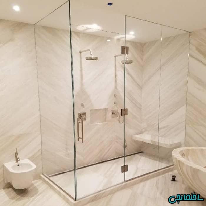 حمام شیشه ای بدون فریم