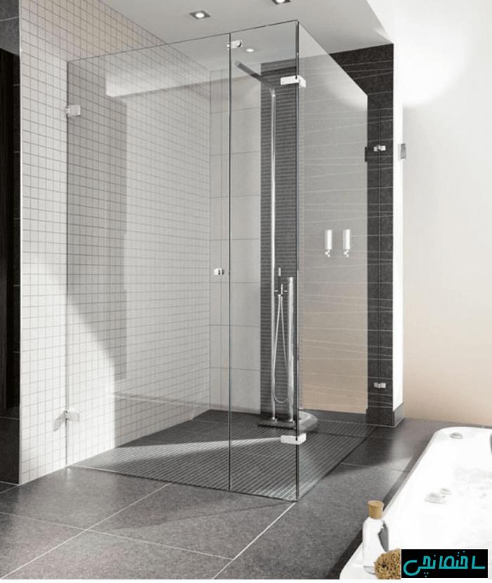 حمام شیشه ای لولایی