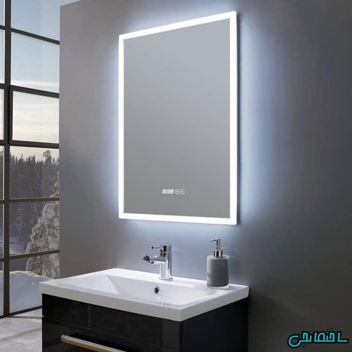 مدل آینه روشویی مستطیلی ال ای دی دار