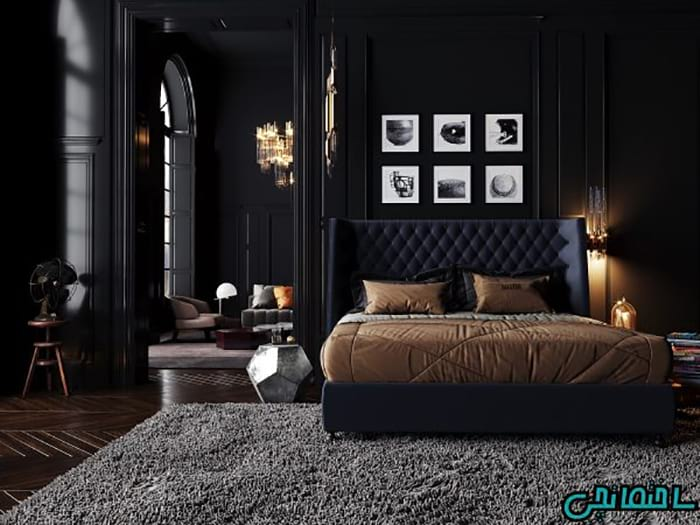 رنگ مشکی در دکوراسیون اتاق خواب