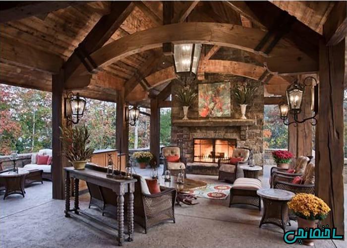 %عکس - ایده های طراحی داخلی کلبه چوبی