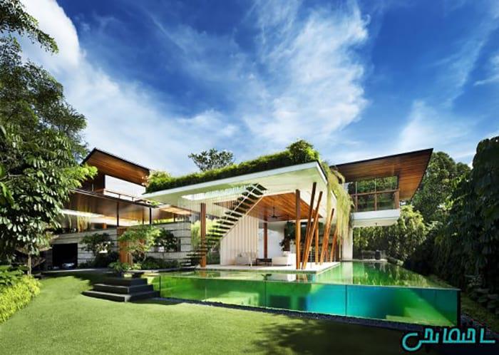 %عکس - تصاویر طراحی خانه ای رویایی با روف گاردن و استخر