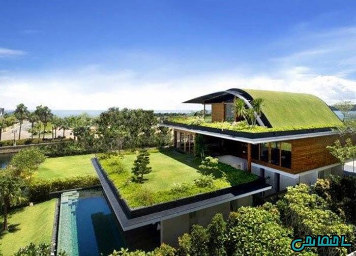 %عکس - طراحی محوطه و بام های سبز