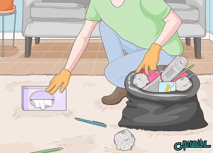 قبل از شروع به تمیز کردن وسایل اضافه را جمع آوری کنید