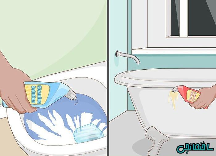وان و سرویس دستشویی را با استفاده از شوینده بشویید